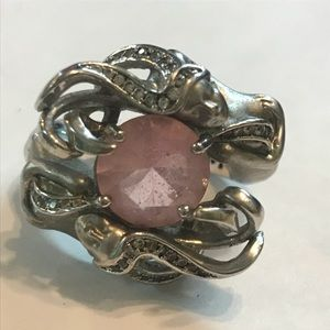 Jewelry - Mermaid Ring Pink Glass Stone Silver-Tone size 7